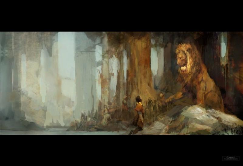 Un bozzetto preparatorio per una scena del fantasy Le cronache di Narnia: il principe Caspian