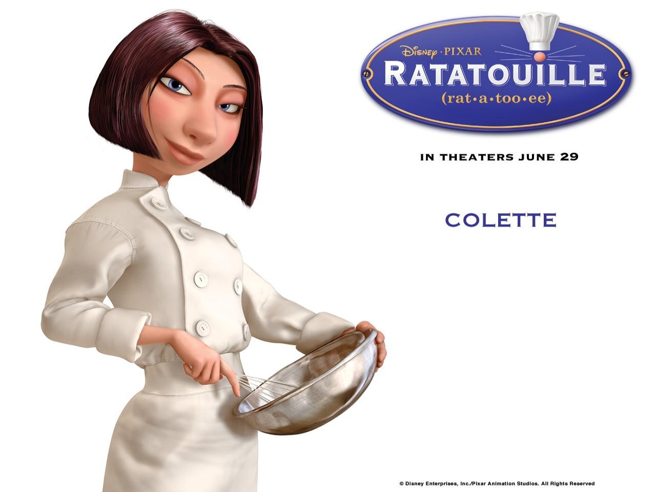Wallpaper del film Ratatouille con la grintosa chef Colette