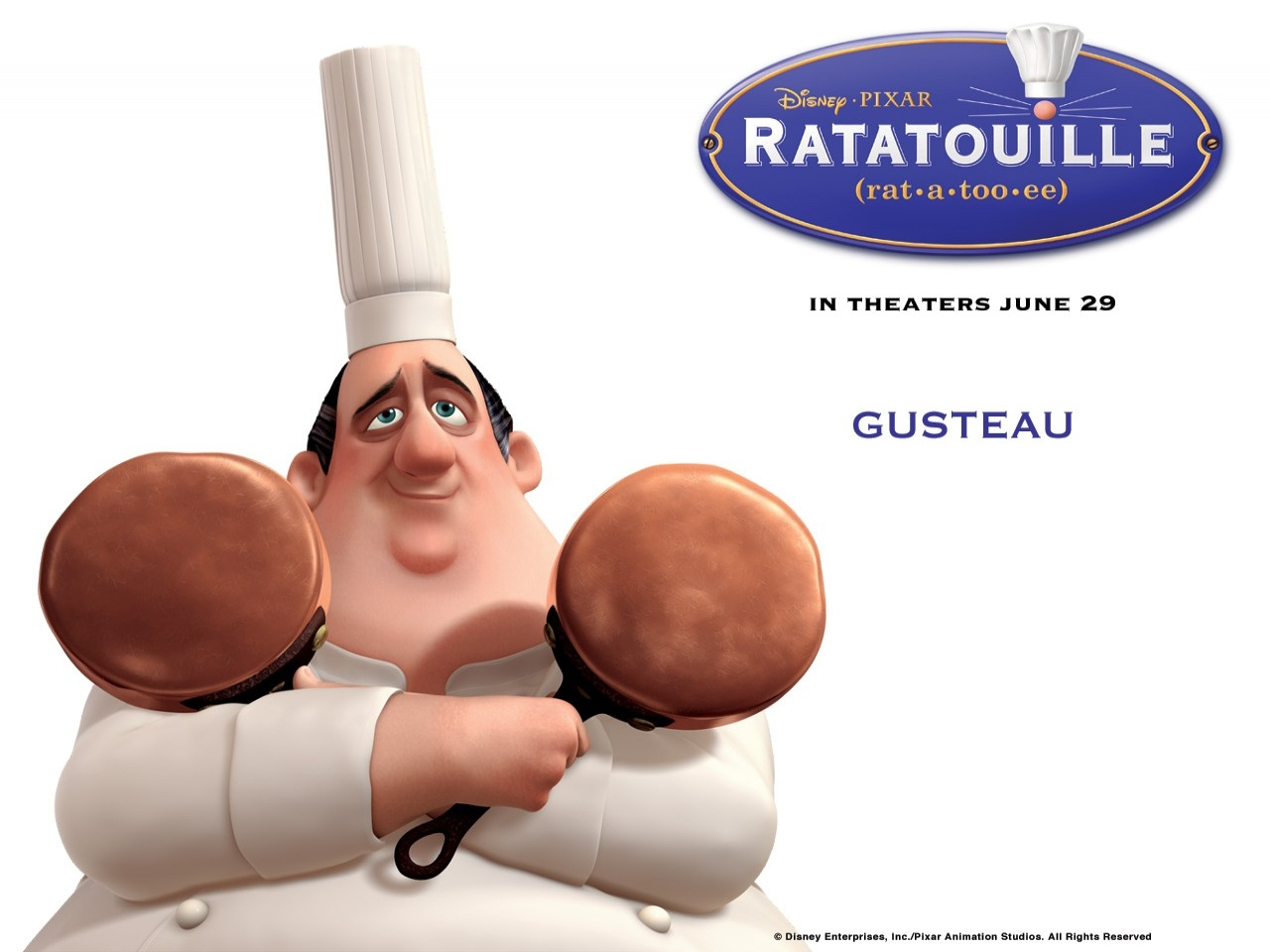 Wallpaper del film Ratatouille con il grande chef Auguste Gusteau