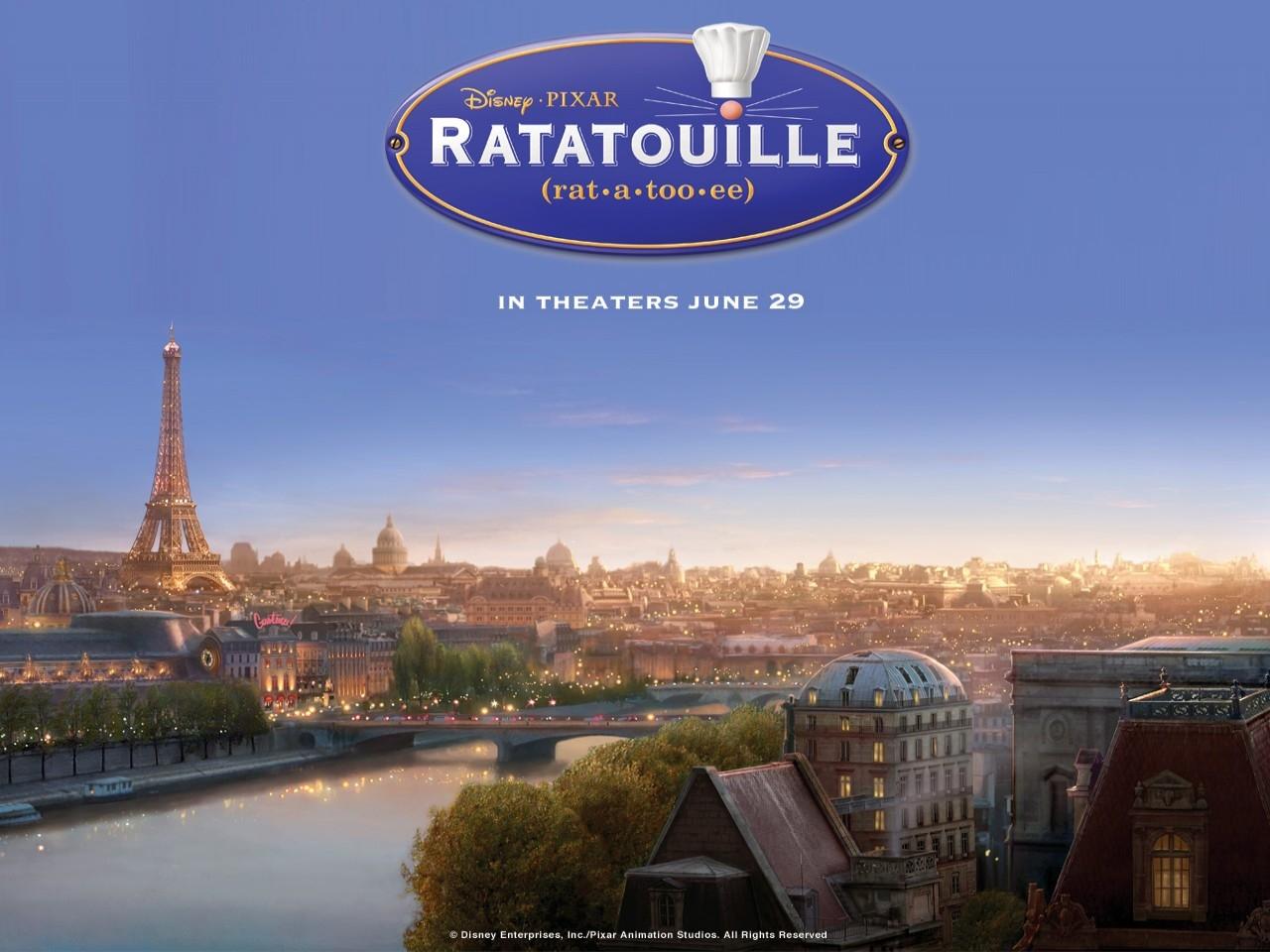 Wallpaper del film Ratatouille con lo scenario di Parigi