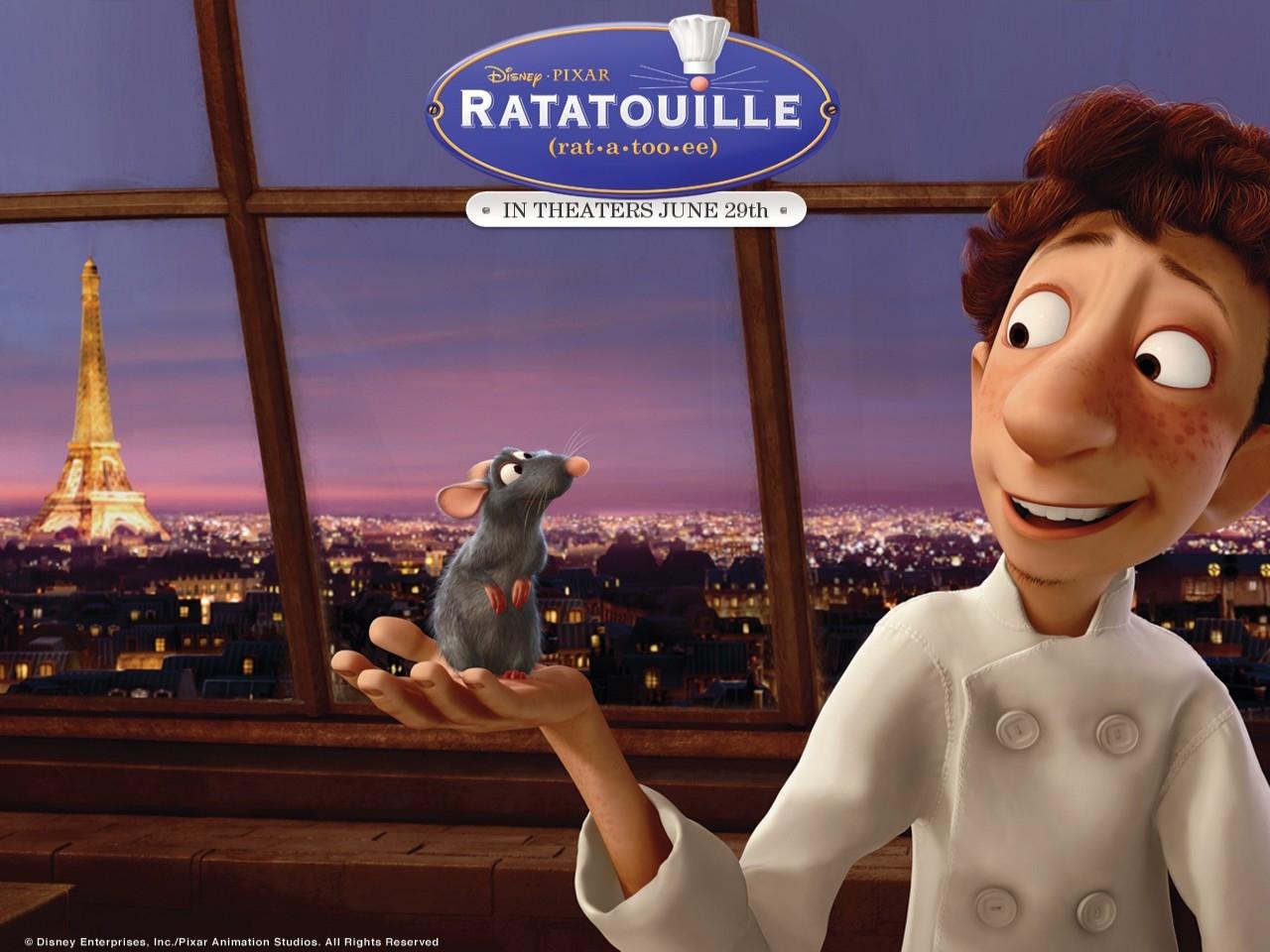 Wallpaper del film Ratatouille con Remy e Alfredo