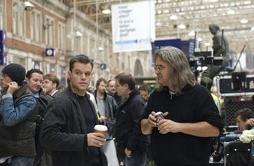 Matt Damon insieme a Paul Greengrass sul set del film The Bourne Ultimatum