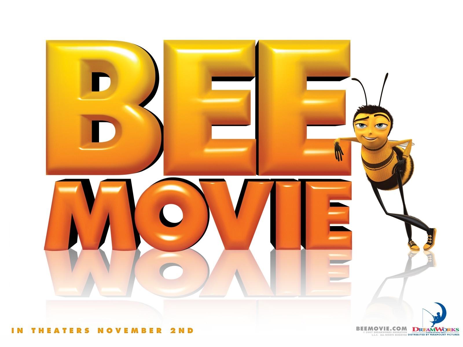 Wallpaper del film Bee Movie con il logo del film
