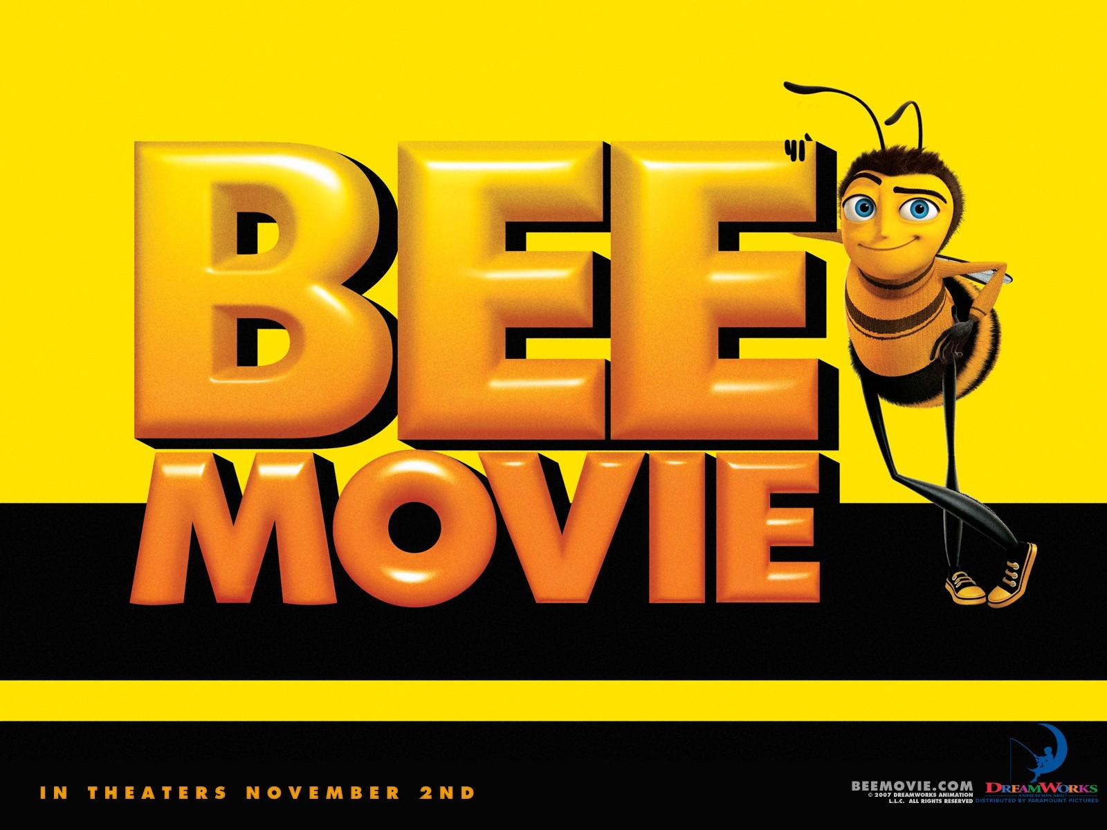 Wallpaper giallo e nero del film Bee Movie