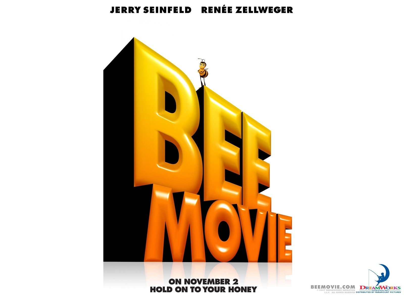 Wallpaper del film Bee Movie con il logo del cartoon