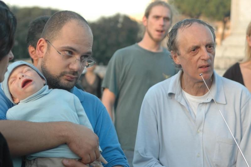Dario Argento sul set del film La terza Madre con i suoi collaboratori