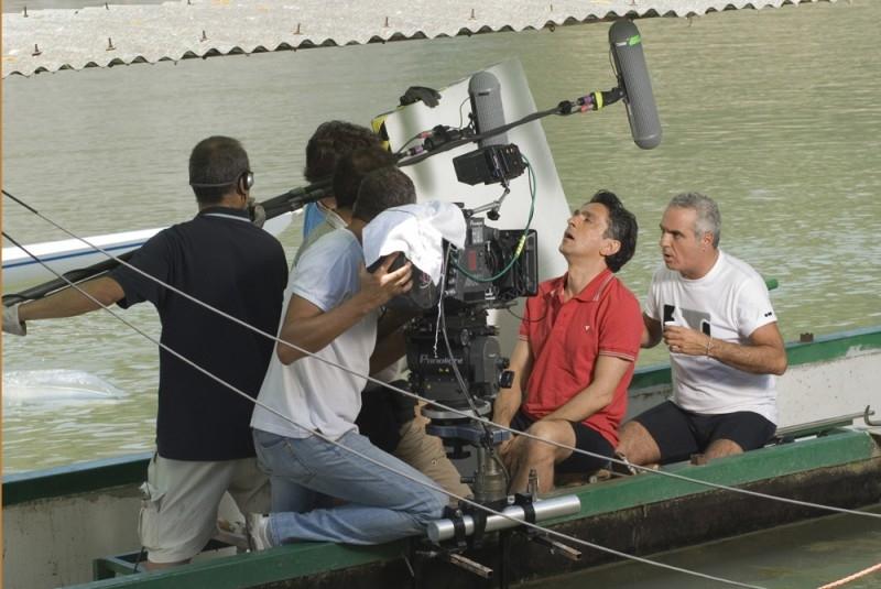 Vincenzo Salemme e Giorgio Panariello sul set di SMS - sotto mentite spoglie