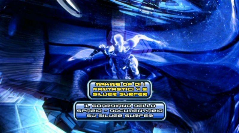 """La schermata del menù del disco 2 de """"I Fastatici 4 e Silver Surfer"""""""
