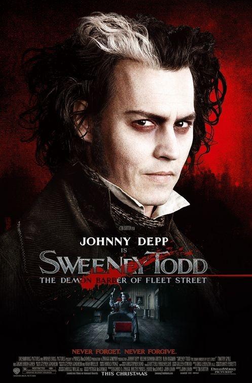 locandina di Sweeney Todd con Johnny Depp nel ruolo del protagonista