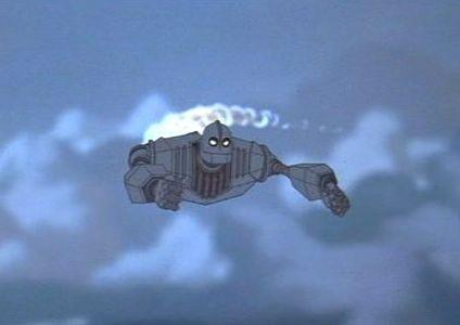 Una sequenza del cartone animato Il gigante di ferro