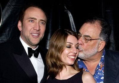 Nicolas Cage con la cugina Sofia Coppola e lo zio Francis Ford Coppola