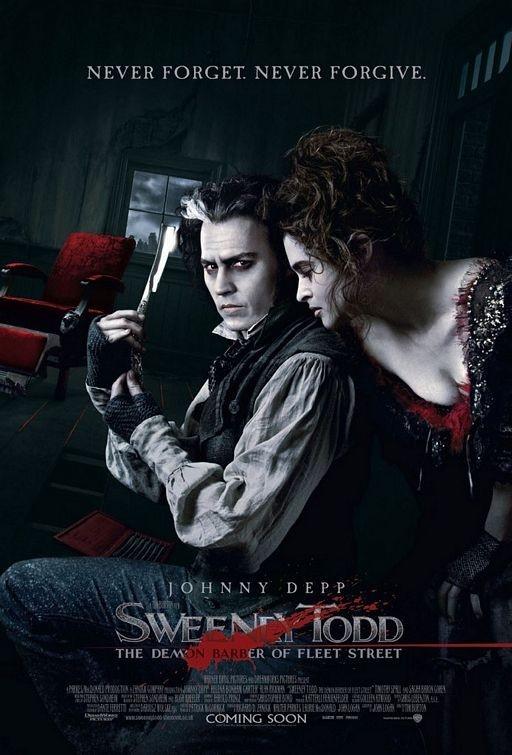 poster di Sweeney Todd con i 'diabolici' Depp e Carter