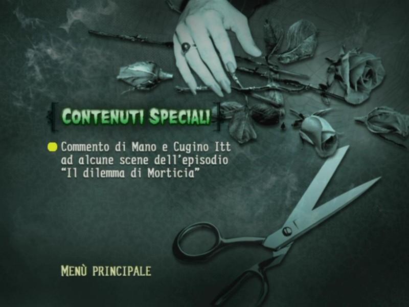 La schermata dei contenuti speciali del primo disco de 'La Famiglia Addams - Volume 3'