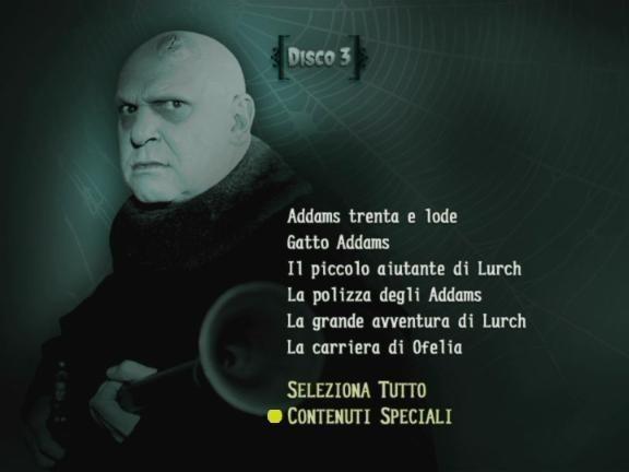 La schermata del menù del terzo disco de 'La Famiglia Addams - Volume 3'