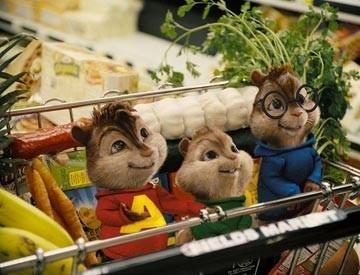 I tre protagonisti di Alvin Superstar al supermercato