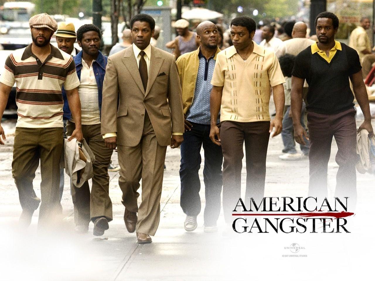 Un wallpaper del film American Gangster, con Denzel Washington