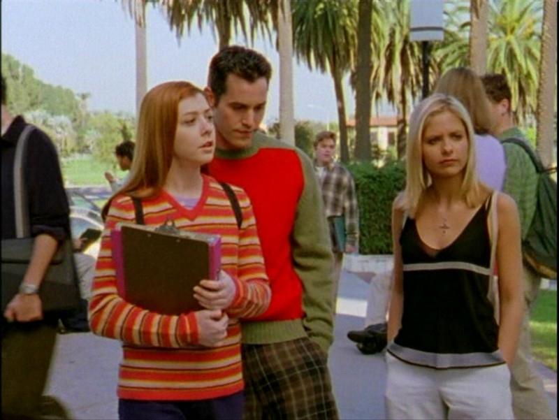 Alyson Hannigan, Nicholas Brendon e Sarah Michelle Gellar in una scena dell'episodio 'Passioni' di Buffy - L'ammazzavampiri
