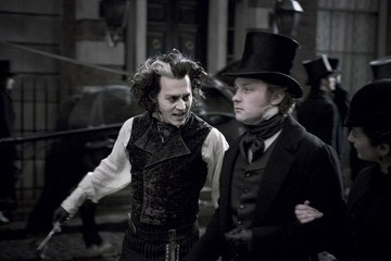 Johnny Depp in una scena del musical Sweeney Todd