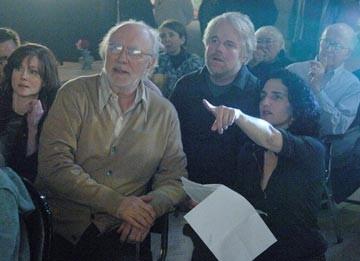 Laura Linney, Philip Bosco, Philip Seymour Hoffman e Tamara Jenkins sul set de La famiglia Savage