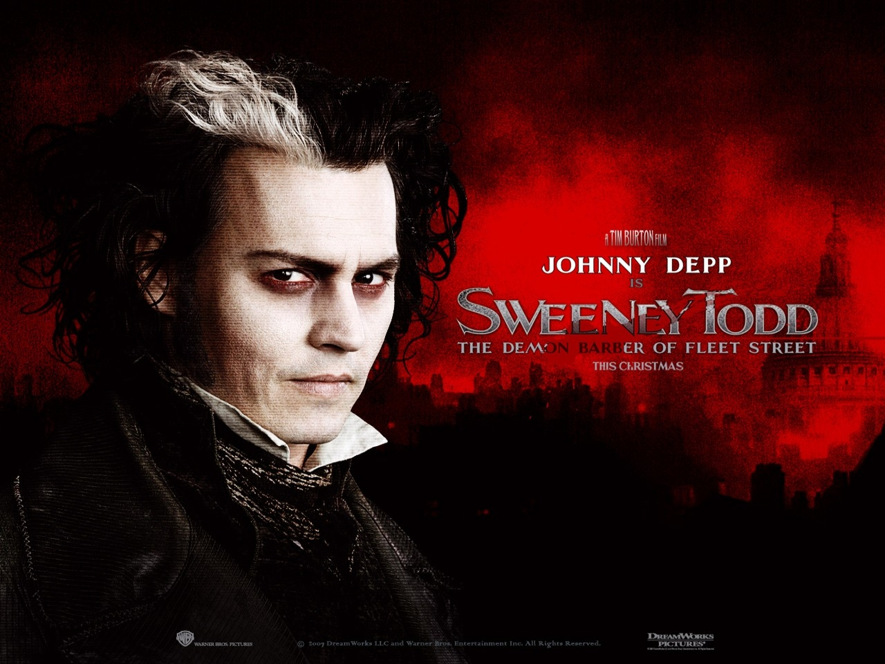 Wallpaper del film Sweeney Todd e del potagonista Johnny Depp