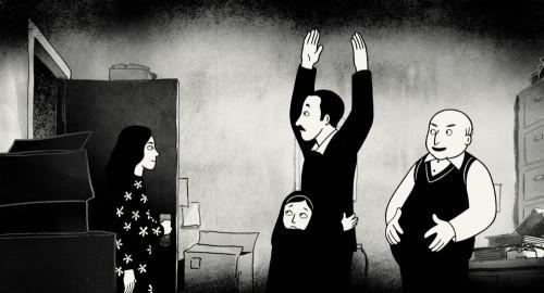 Un'immagine del film Persepolis, con la piccola protagonista e suo padre