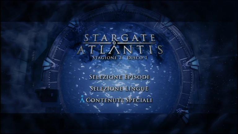 Il menù del primo disco della Stagione 2 di Stargate: Atlantis