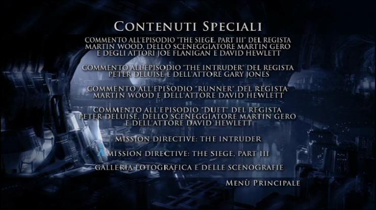 La schermata dei contenuti speciali del primo disco della Stagione 2 di Stargate: Atlantis