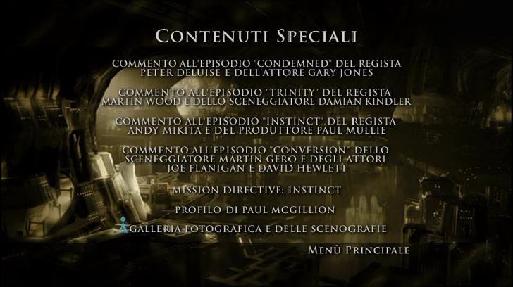 La schermata dei contenuti speciali del secondo disco della Stagione 2 di Stargate: Atlantis