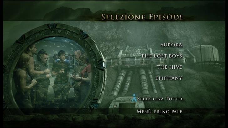 La schermata della selezione episodi del terzo disco della Stagione 2 di Stargate: Atlantis