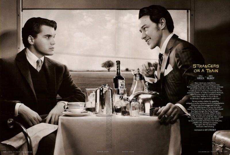 Emile Hirsch e James McAvoy in una delle immagini dell'omaggio a Hitchcock di Vanity Fair (2008)
