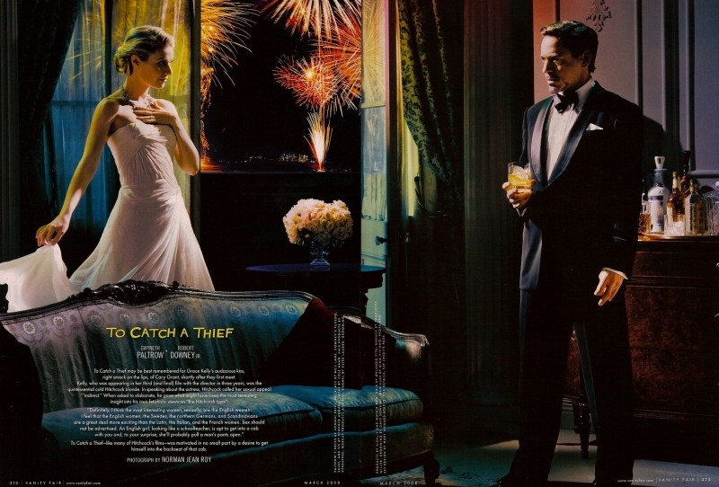 Gwyneth Paltrow e Robert Downey Jr. in una delle immagini dell'omaggio a Hitchcock di Vanity Fair (2008)