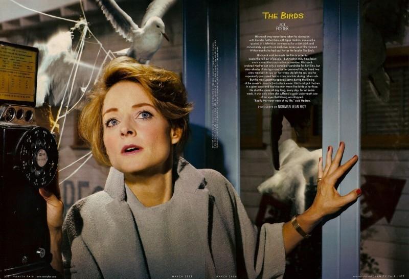 Jodie Foster in una delle immagini dell'omaggio a Hitchcock di Vanity Fair (2008)