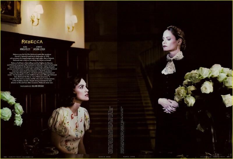 Keira Knightley e Jennifer Jason Leigh in una delle immagini dell'omaggio a Hitchcock di Vanity Fair (2008)