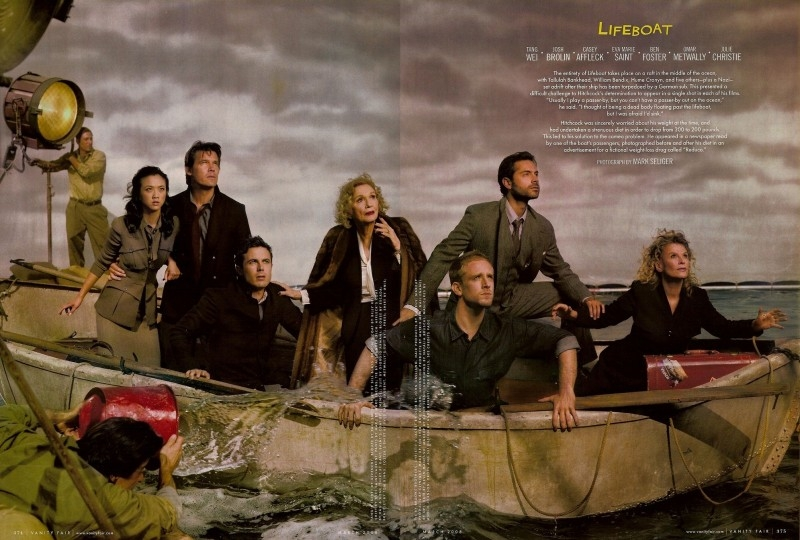 Tang Wei, Josh Brolin, Casey Affleck, Eva Marie Saint, Ben Foster, Omar Metwally e Julie Christie nell'amaggio a Hitchcock di Vanity Fair (2008)