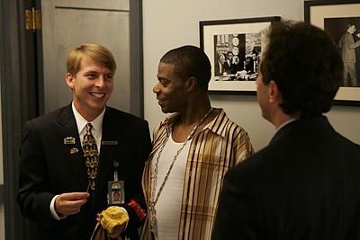 Jack McBrayer, Tracy Morgan e Jerry Seinfeld nell'episodio 'Seinfeldvision' della seconda stagione di 30 Rock
