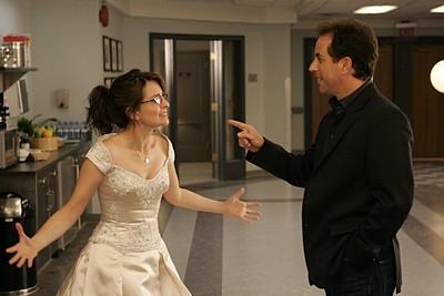 Tina Fey e Jerry Seinfeld nell'episodio 'Seinfeldvision' della seconda stagione di 30 Rock