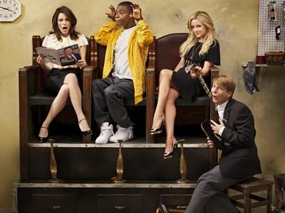 Tina Fey, Tracy Morgan, Jane Krakowski e Jack McBrayer in un'immagine promozionale per 30 Rock