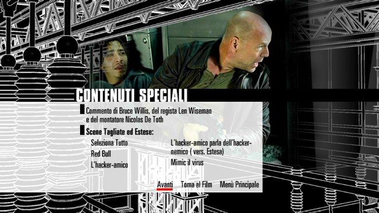 La schermata dei contenuti speciali del primo disco di Die Hard - Vivere o morire - Edizione speciale