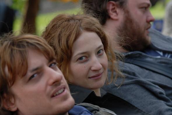 Alessandro Averone con Alba Rohrwacher e Stefano Fresi sul set del film Riprendimi