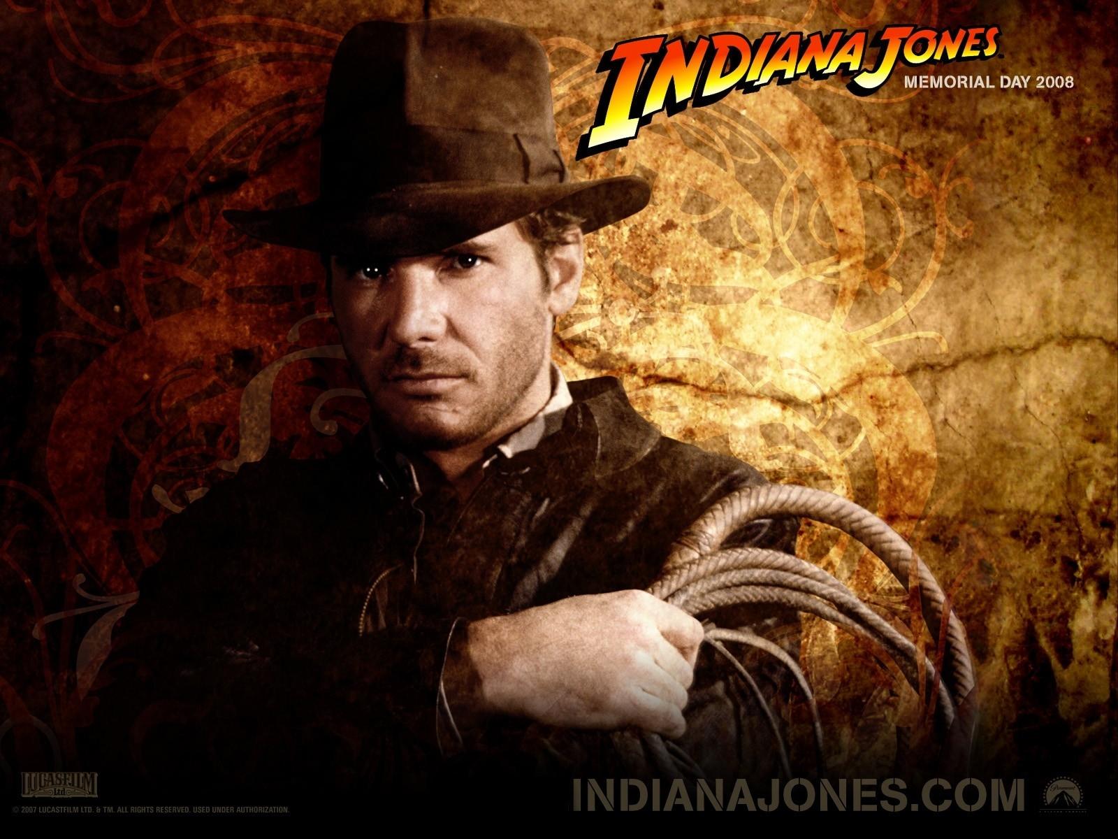 Wallpaper del film Indiana Jones e il Regno del Teschio di Cristallo con un primo piano di Harrison Ford