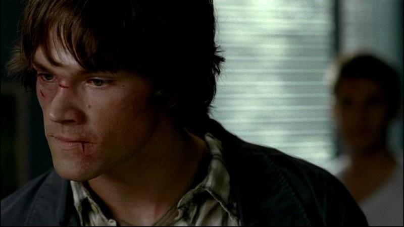 Jared Padalecki, mentre interpreta Sam Winchester, 'In my time of dying'