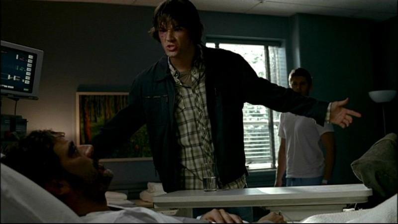 Jensen Ackles, Jeffrey Dean Morgan e Jared Padalecki, nell'episodio, 'In my time of dying' della serie Supernatura