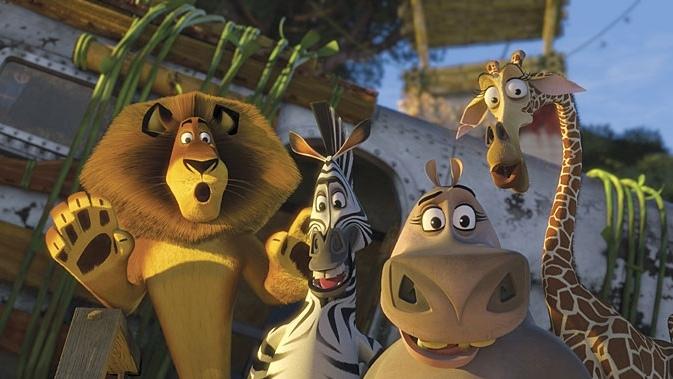 Un'immagine di gruppo tratta dal film d'animazione Madagascar 2 - Via dall'isola