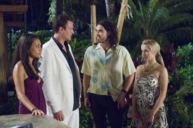 Mila Kunis, Jason Segel, Russell Brand e Kristen Bell in una scena di Forgetting Sarah Marshall