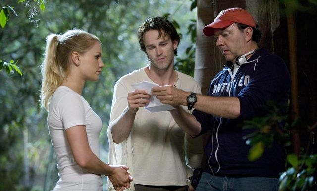 Anna Paquin, Stephen Moyer ed Alan Ball sul set di True Blood