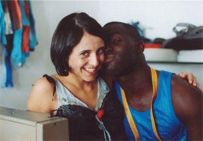 Susy Laude e Thierno Thiam sul set del film Billo - Il Grand Dakhaar