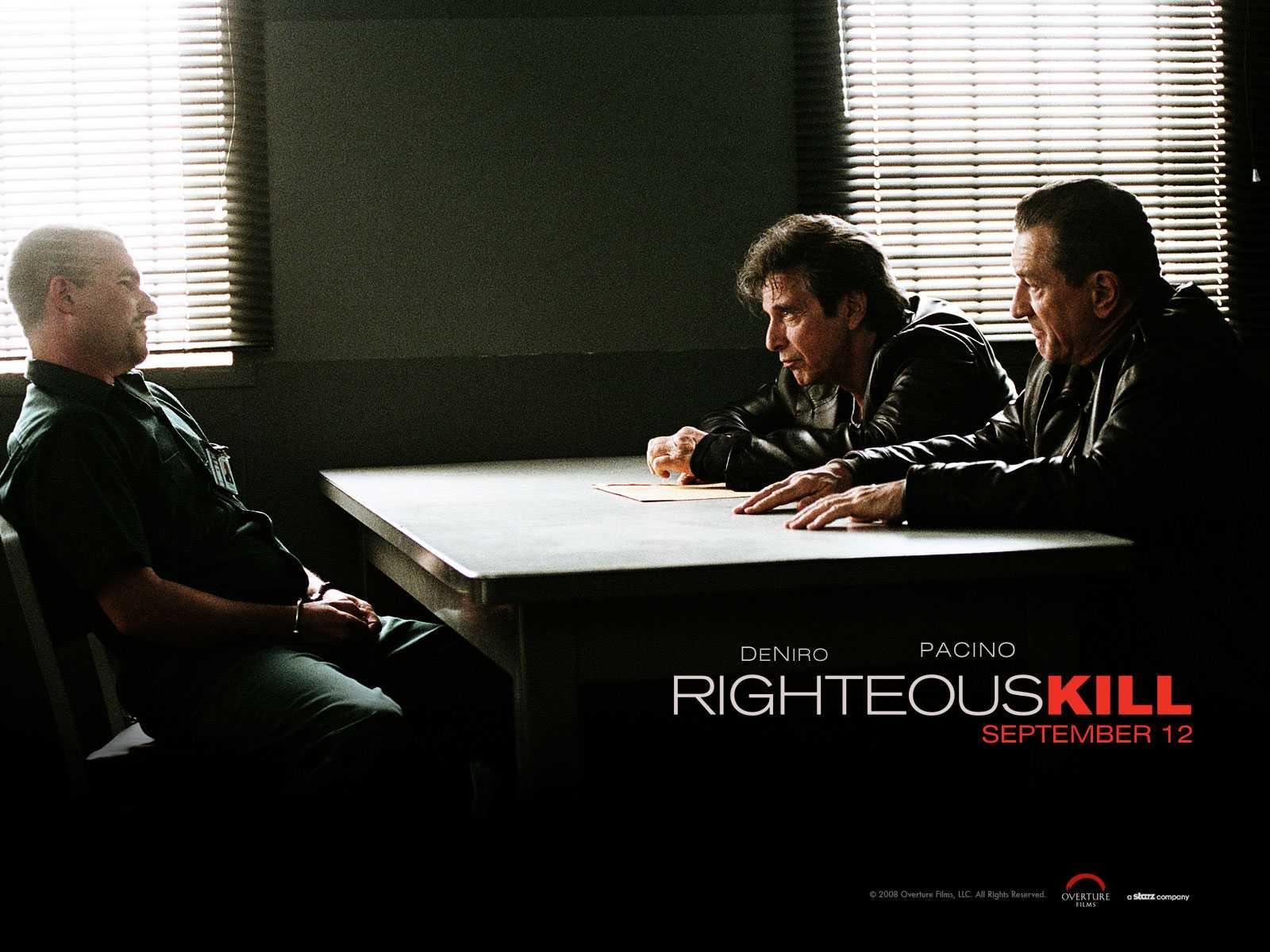 Un wallpaper del film Sfida senza regole - Righteous Kill con Al Pacino e Robert De Niro