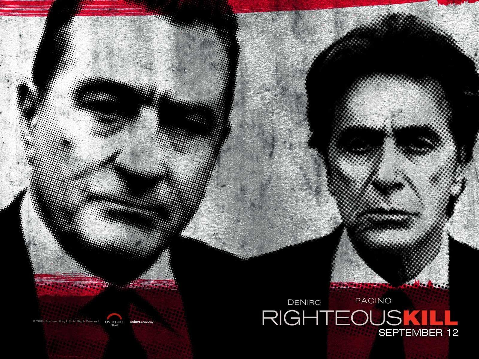 Un wallpaper del film Sfida senza regole - Righteous Kill con Robert De Niro e Al Pacino