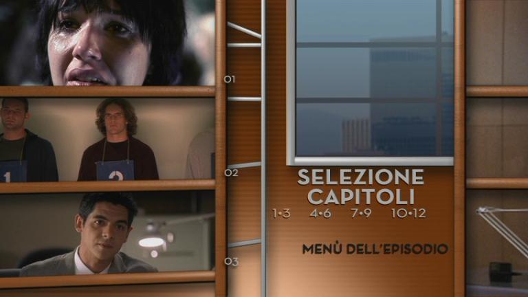 Un'immagine del menu di selezione capitoli di un episodio del DVD Shark, Stagione 1