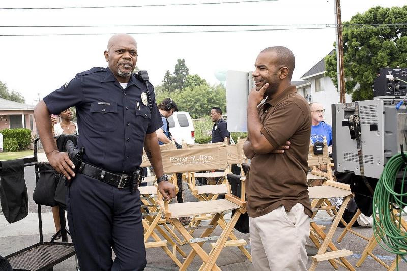 Samuel L. Jackson e il produttore James Lassiter sul set del film La ...